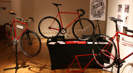 study-of--velocipede-at-Details of the Iride bicycles booth at the Luxury Review.-party-show-iride-bicycles-booth-side-view